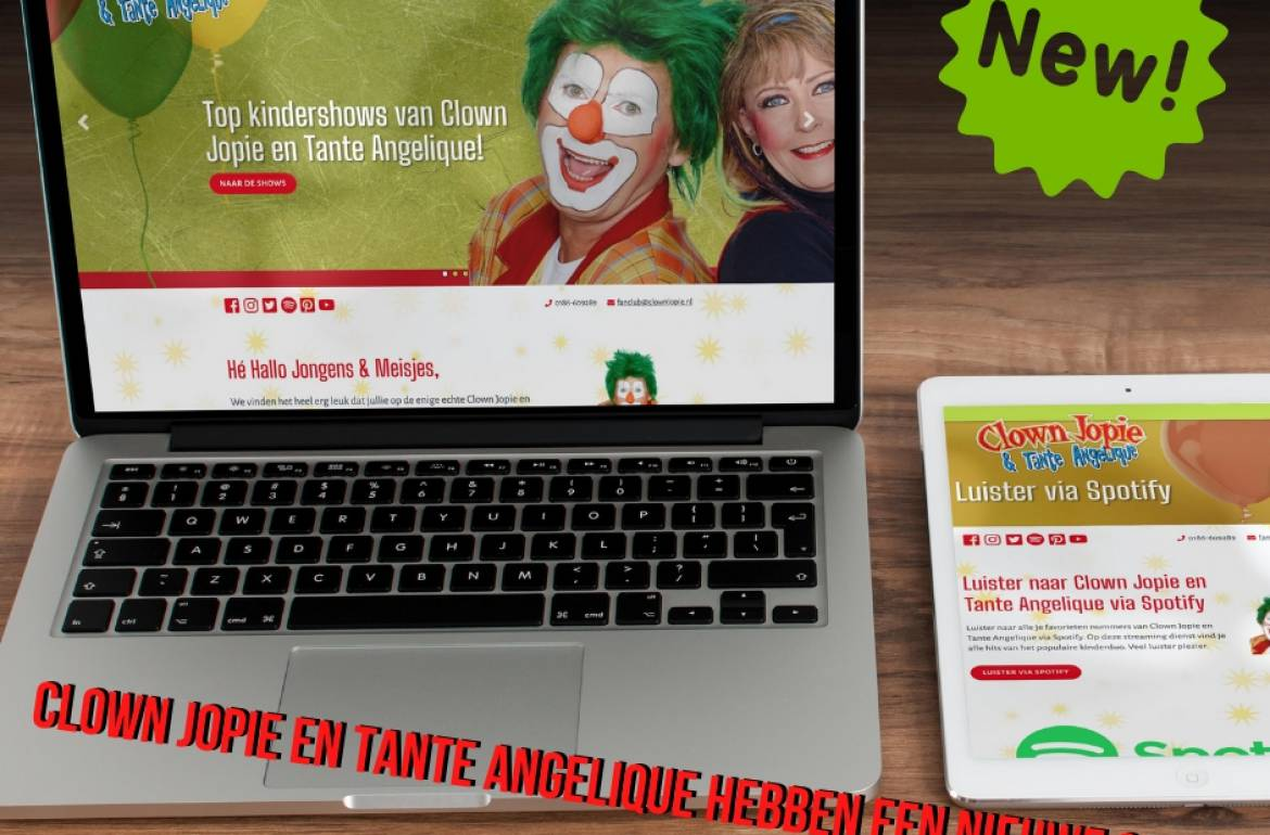 Nieuwe website Clown Jopie en Tante Angelique
